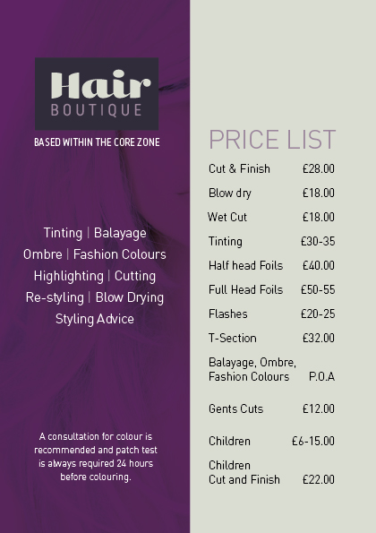 Hair Boutique Price list